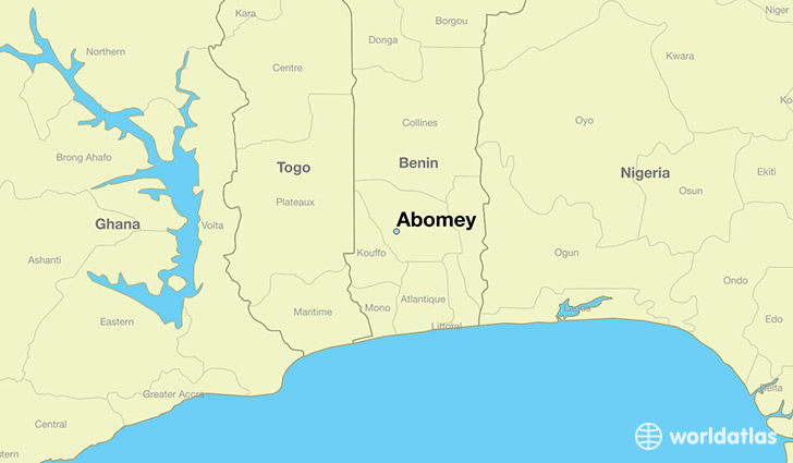 map showing the location of Abomey