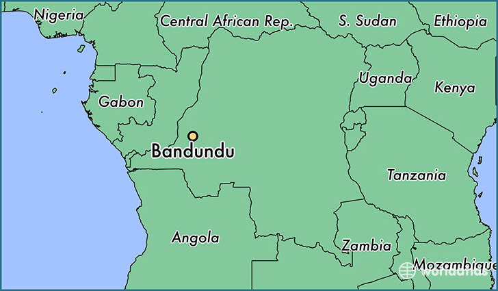 map showing the location of Bandundu