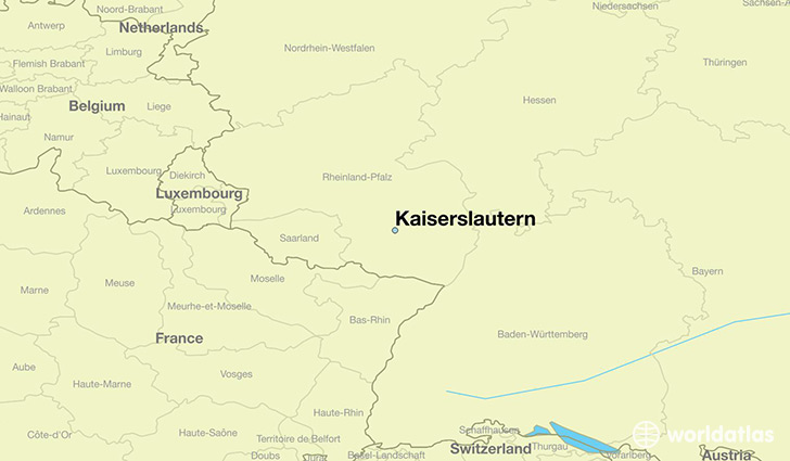 map showing the location of Kaiserslautern