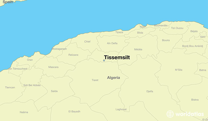 map showing the location of Tissemsilt