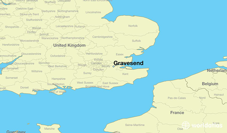 map showing the location of Gravesend