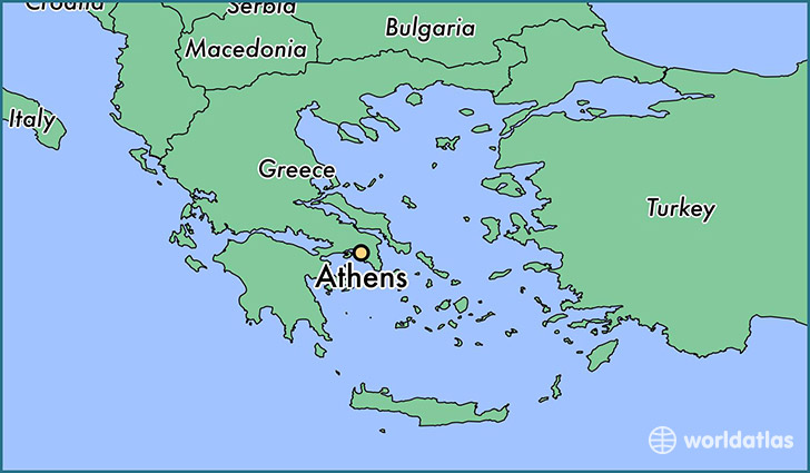map showing the location of Athens
