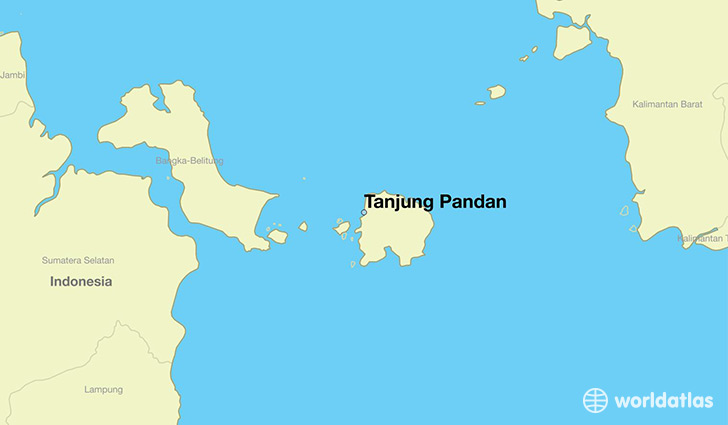 map showing the location of Tanjung Pandan