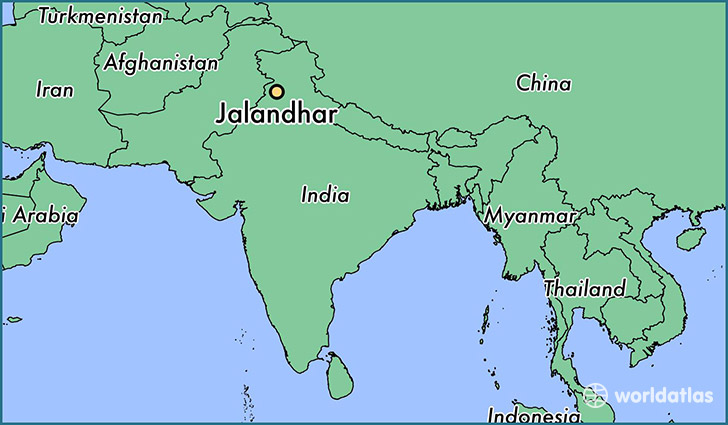 map showing the location of Jalandhar