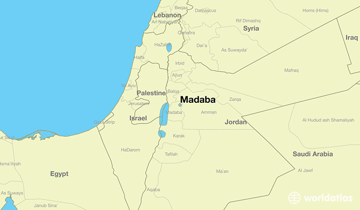 map showing the location of Madaba