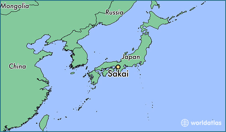 map showing the location of Sakai