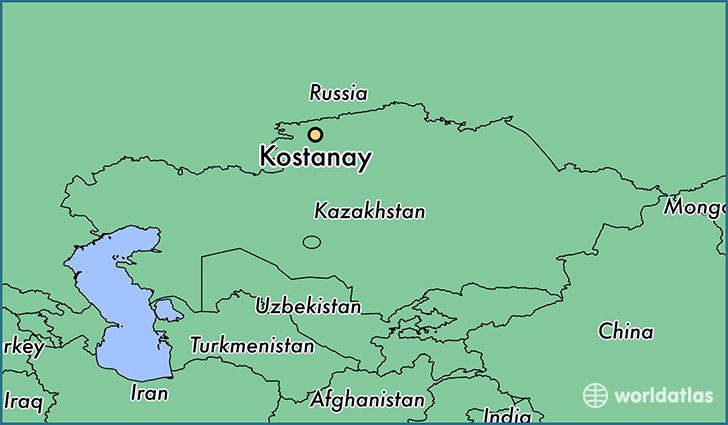 map showing the location of Kostanay