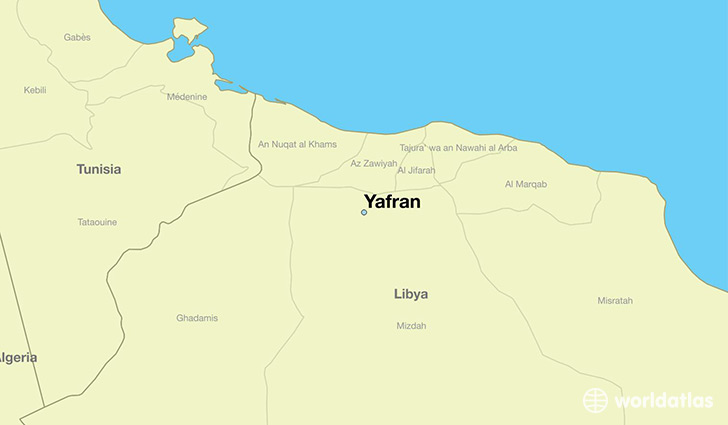 map showing the location of Yafran