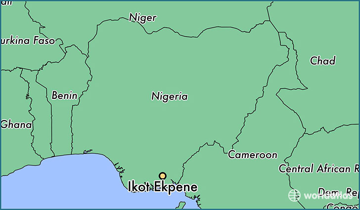 map showing the location of Ikot Ekpene