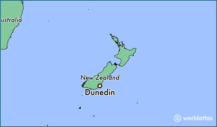 map showing the location of Dunedin