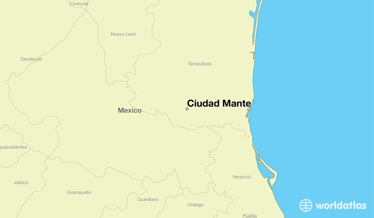 map showing the location of Ciudad Mante