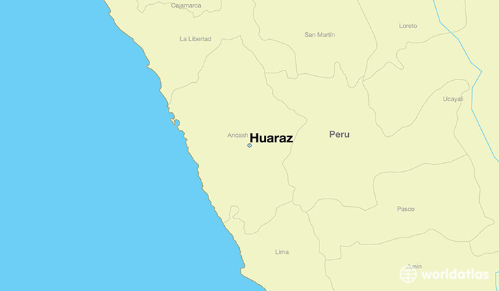 map showing the location of Huaraz