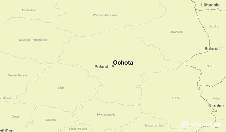 map showing the location of Ochota