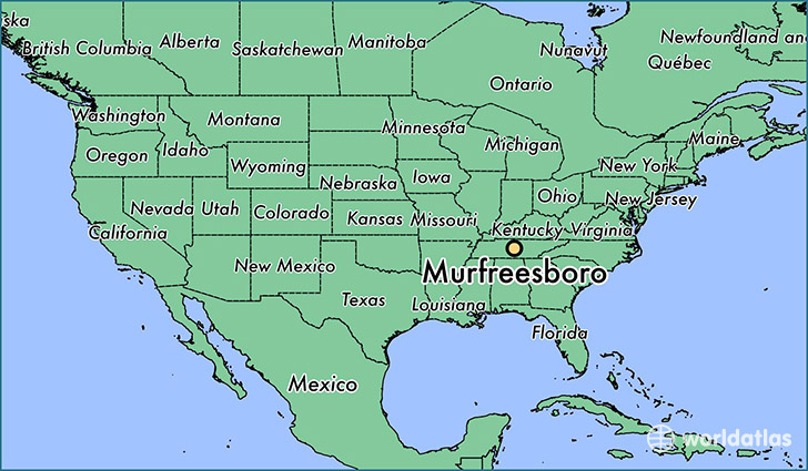 map showing the location of Murfreesboro