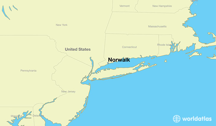 map showing the location of Norwalk