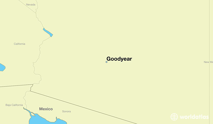 map showing the location of Goodyear
