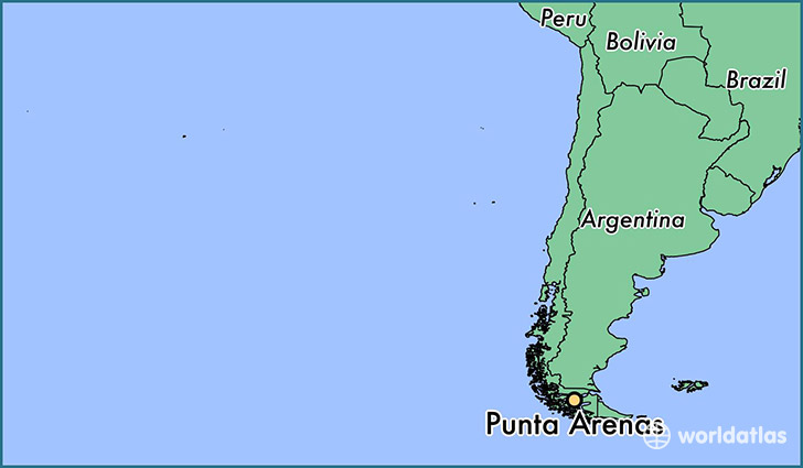 map showing the location of Punta Arenas
