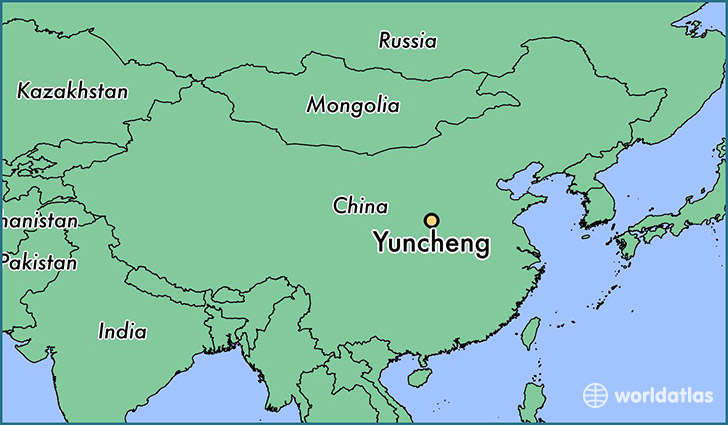 map showing the location of Yuncheng