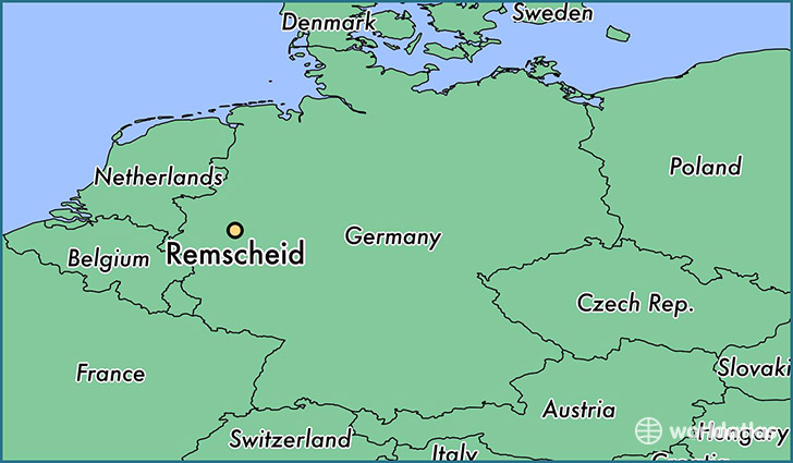 map showing the location of Remscheid