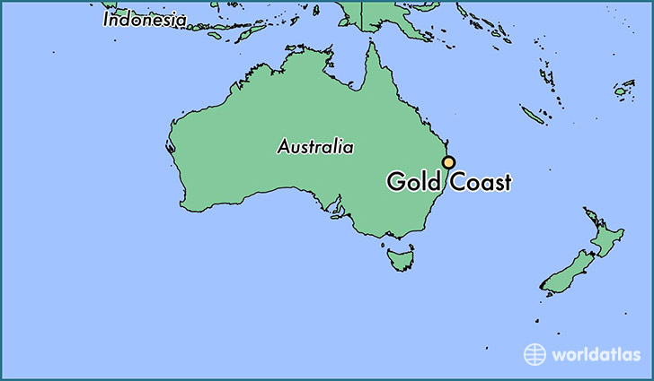 map showing the location of gold coast