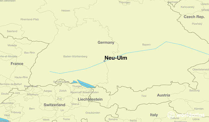 Where is NeuUlm Germany NeuUlm Bavaria Map WorldAtlascom