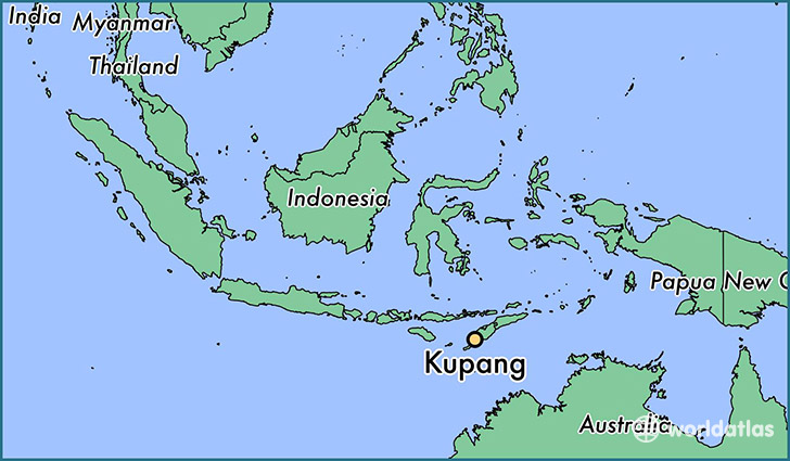 map showing the location of Kupang