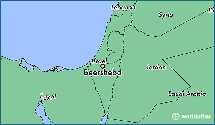 map showing the location of Beersheba