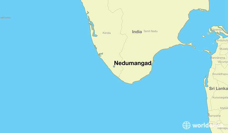map showing the location of Nedumangad
