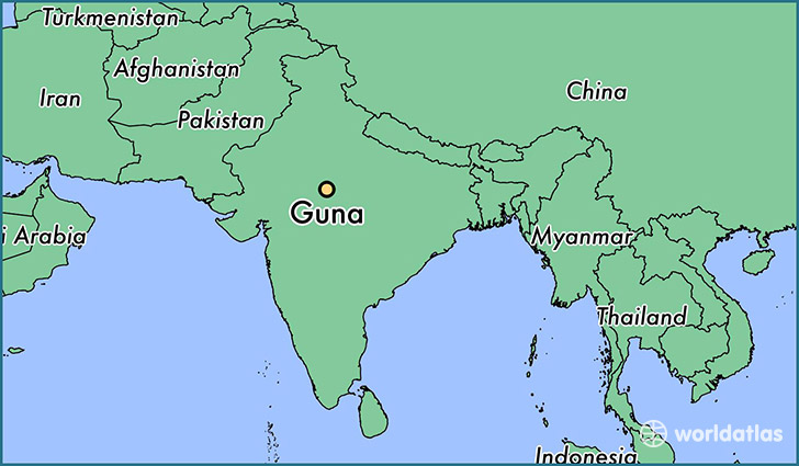 map showing the location of Guna