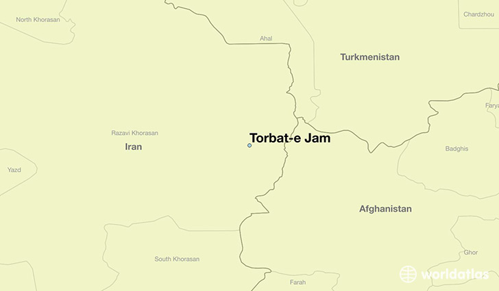 map showing the location of Torbat-e Jam