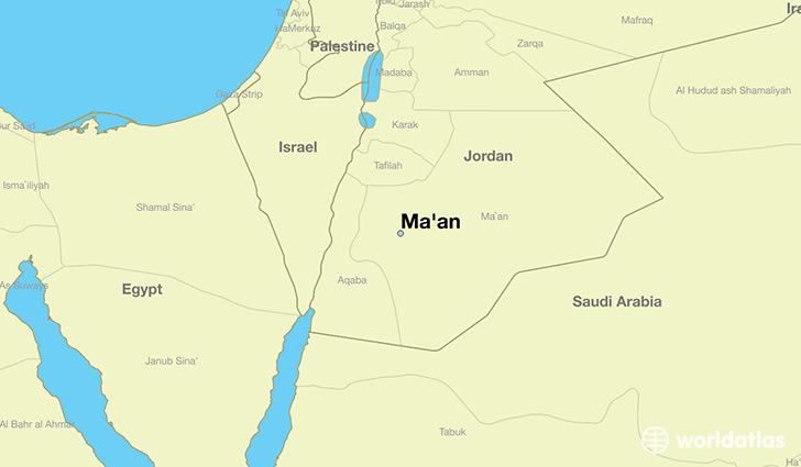 map showing the location of Ma'an