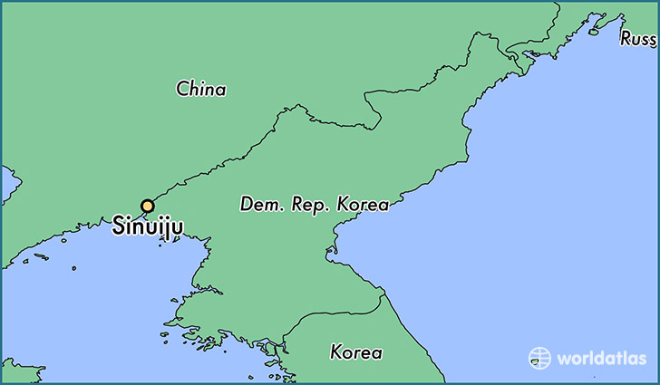 map showing the location of Sinuiju