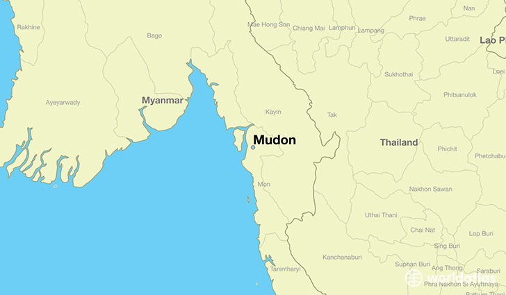 map showing the location of Mudon