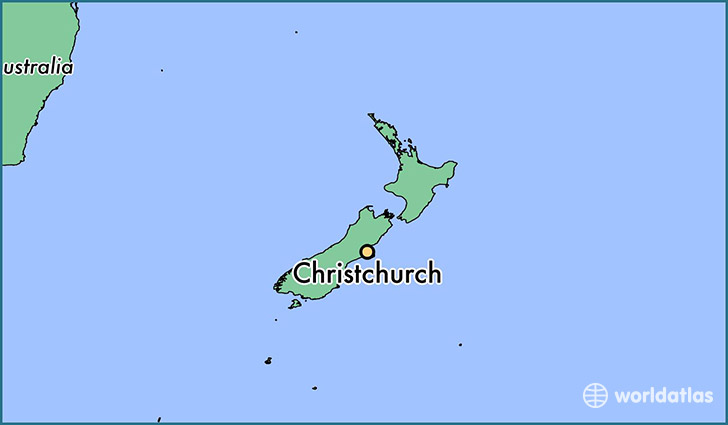 map showing the location of Christchurch