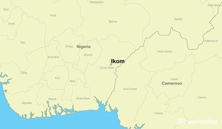 map showing the location of Ikom
