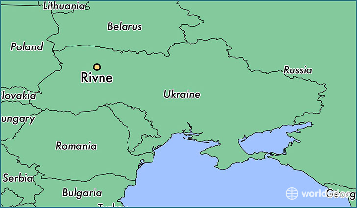 map showing the location of Rivne