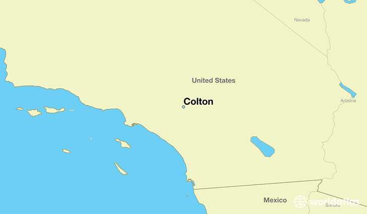 map showing the location of Colton