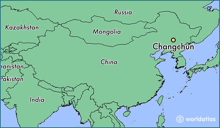 map showing the location of Changchun
