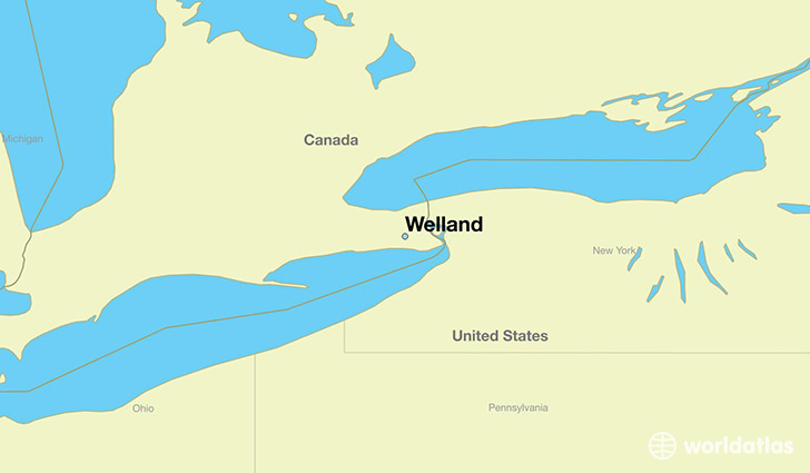 map showing the location of Welland