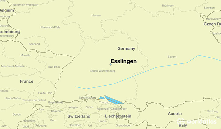 map showing the location of Esslingen
