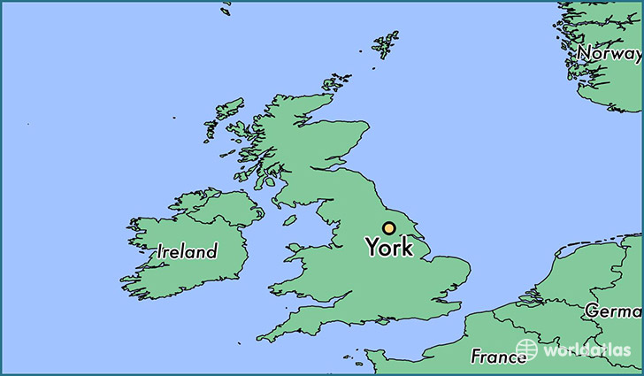 map showing the location of York