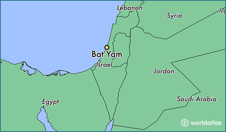 map showing the location of Bat Yam