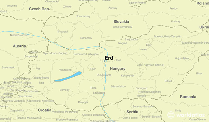 map showing the location of Erd