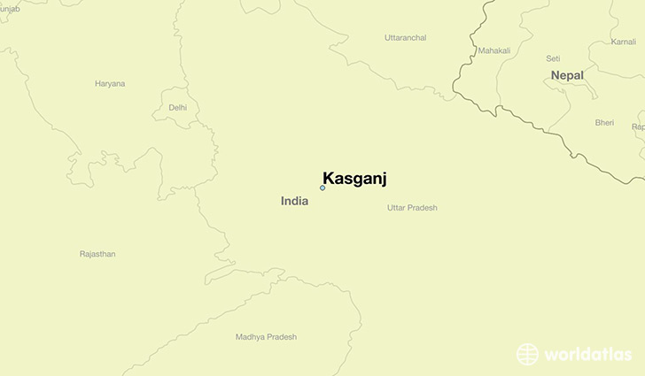map showing the location of Kasganj