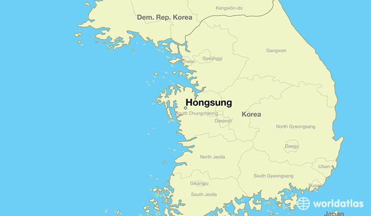 map showing the location of Hongsung