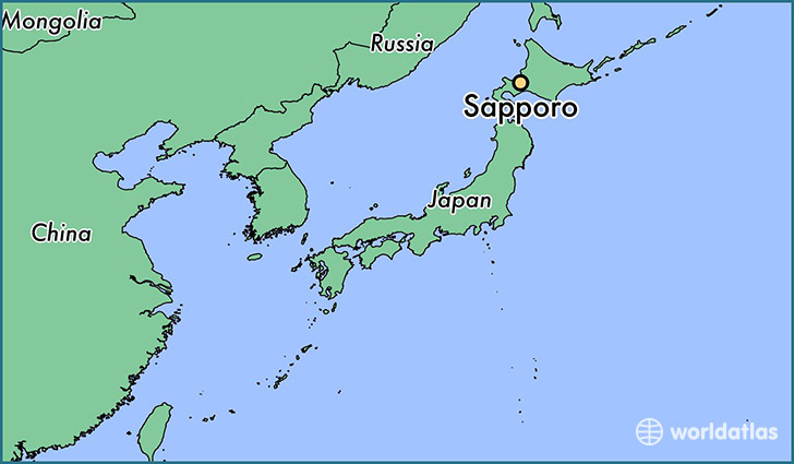 map showing the location of Sapporo