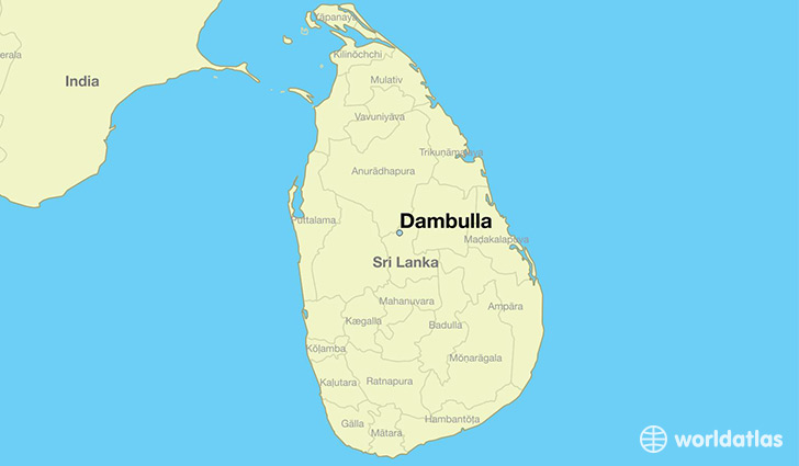 Where Is Dambulla Sri Lanka Dambulla Central Map WorldAtlascom - Where is sri lanka located