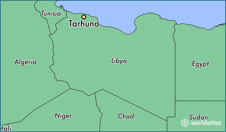 map showing the location of Tarhuna