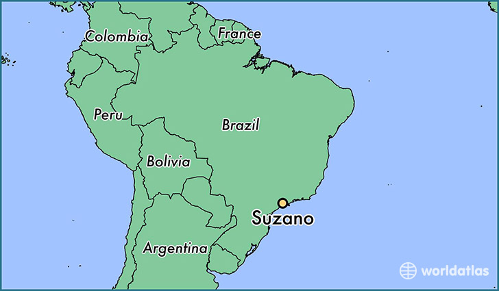 map showing the location of Suzano