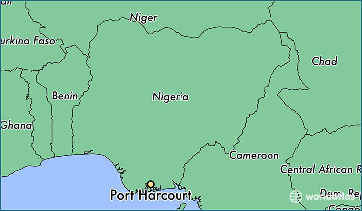 map showing the location of Port Harcourt